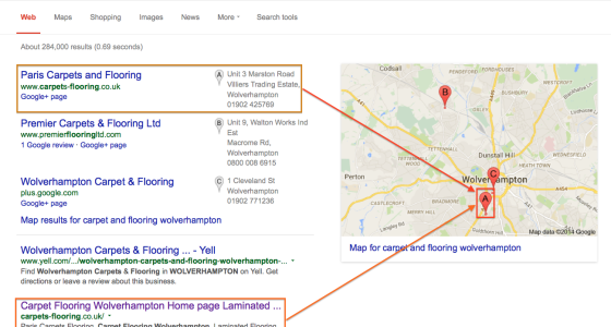 SEO Example for Carpet Flooring